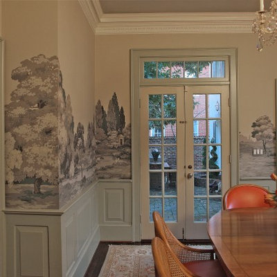 Enclosed dining room - mid-sized traditional dark wood floor enclosed dining room idea in Baltimore with beige walls