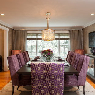 Transitional medium tone wood floor dining room photo in Chicago with metallic walls