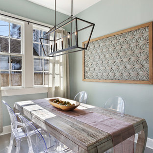 Example Of A Transitional Gray Floor Dining Room Design In New Orleans With  Green Walls