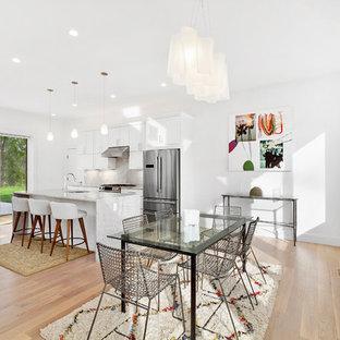 Mid Sized Trendy Light Wood Floor And Beige Floor Great Room Photo In New  York