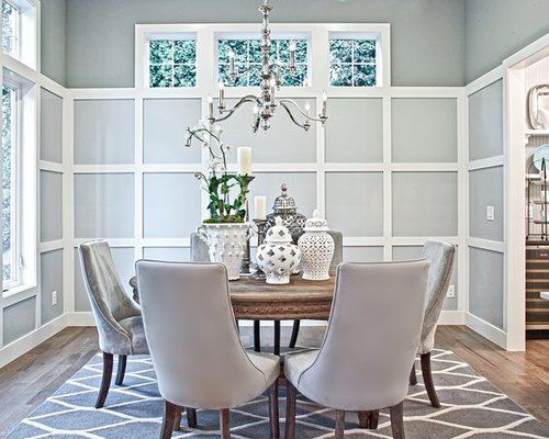 Mid Sized Ornate Enclosed Dining Room Photo In Seattle With Gray Walls And Medium Tone