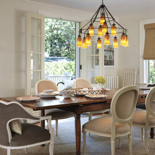 Cottage Chic Dining Room Photo In Providence With White Walls