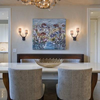 Dining room - contemporary dark wood floor dining room idea in New York with beige walls