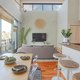 Foto di una piccola sala da pranzo aperta verso il soggiorno scandinava con pareti grigie, pavimento in legno massello medio, nessun camino e pavimento marrone