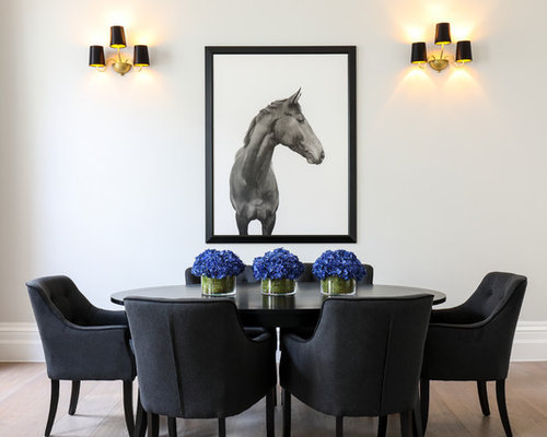 Eclectic Dining Room In London With Grey Walls And Light Hardwood Flooring