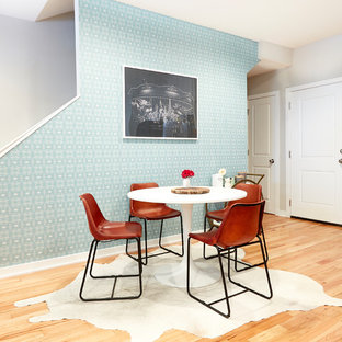 Dining room - mid-sized eclectic light wood floor and beige floor dining room idea in Philadelphia with green walls and no fireplace