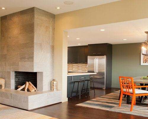 Modern corner fireplace houzz for Corner fireplace plans