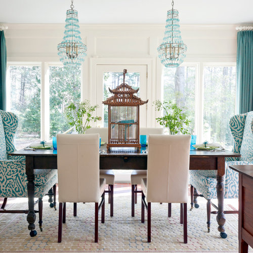 Charming Inspiration For An Eclectic Dining Room Remodel In Other With White Walls  And Beige Floors Part 17