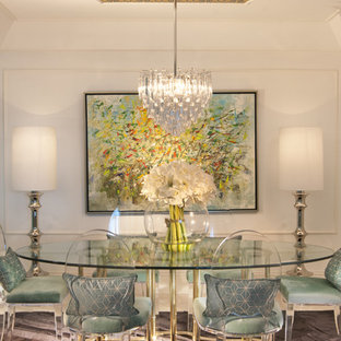 Dining room - eclectic dining room idea in Miami with white walls