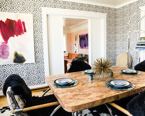 Eclectic Dining Room Photo In Los Angeles With Multicolored Walls And Medium Tone Wood Floors
