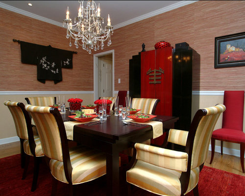 Red dining room design ideas renovations photos with a for 3 sided dining room table