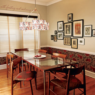 Design ideas for an eclectic dining room in Denver with beige walls.
