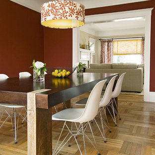 Mid-sized eclectic light wood floor enclosed dining room photo in San Francisco with red walls