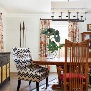 サクラメントの中サイズのエクレクティックスタイルのおしゃれなダイニングキッチン (白い壁、セラミックタイルの床) の写真
