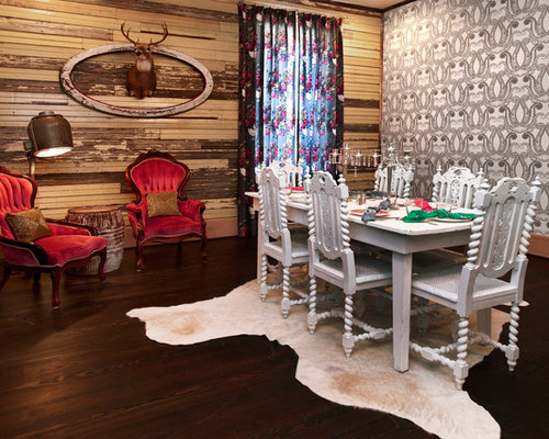 Large Eclectic Dark Wood Floor Enclosed Dining Room Photo In Oklahoma City  With Multicolored Walls