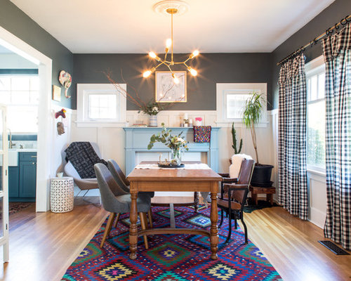 Eclectic Light Wood Floor And Brown Enclosed Dining Room Idea In Portland With Gray Walls
