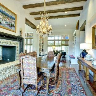 オースティンの大きいエクレクティックスタイルのおしゃれなLDK (白い壁、コンクリートの床、両方向型暖炉、ベージュの床、タイルの暖炉まわり) の写真