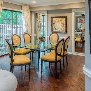 Great room - mid-sized traditional dark wood floor great room idea in Phoenix with beige walls and no fireplace