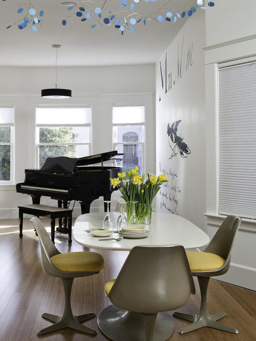 Modern dining room idea in San Francisco with white walls and medium tone  hardwood floorsMobile Dining Room Ideas   Design Photos   Houzz. Piano Dining Room Table. Home Design Ideas