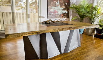 Edge Wood Slab Table W/ Faceted Metal Base