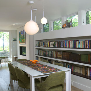 Minimalist dining room photo in Boston with white walls