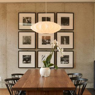 Foto di una sala da pranzo design con pareti grigie, parquet scuro e stufa a legna