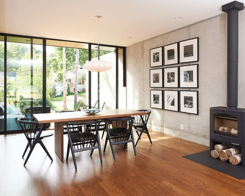 modern dining room design ideas remodels photos with a wood stove