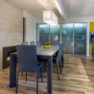 Diseño de comedor de cocina retro, de tamaño medio, con paredes blancas, suelo de baldosas de porcelana, chimenea tradicional y marco de chimenea de hormigón