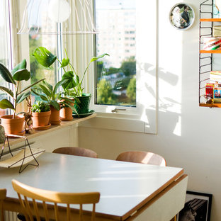 Inspiration for a small midcentury dining room in Malmo with white walls and medium hardwood floors.