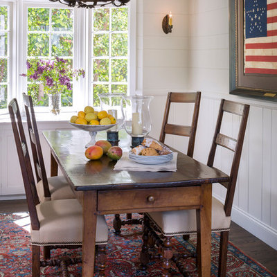 Example of a mid-sized classic dark wood floor kitchen/dining room combo design in Orange County