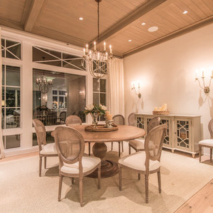 Mid-sized elegant light wood floor great room photo in Tampa with beige walls and no fireplace