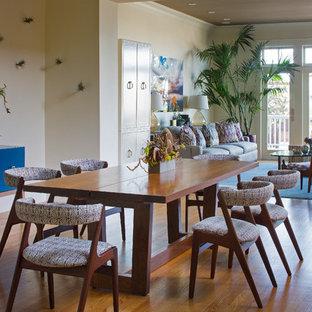 Foto di una sala da pranzo aperta verso il soggiorno minimalista di medie dimensioni con pareti bianche, pavimento in legno massello medio, pavimento marrone, camino classico e cornice del camino in pietra