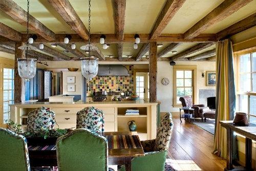 Foton och inspiration för rustika kök med matplatser, med gula väggar