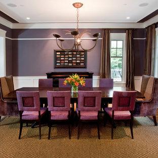 Новые идеи обустройства дома: отдельная столовая в стиле современная классика с фиолетовыми стенами и паркетным полом среднего тона