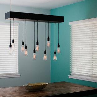 Immagine di una sala da pranzo design chiusa e di medie dimensioni con pareti blu