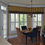 Elite Traditional Plantation Styles - This photo showcases our shutters in a breakfast room. This project was part of a whole house installation by Lisa Gray Interiors in Horseshoe Bend Country Club.