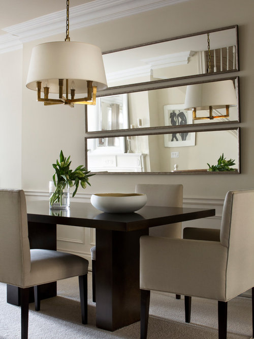 Example Of A Transitional Beige Floor Dining Room Design In Toronto With Walls
