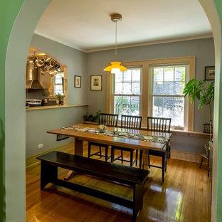 Modelo de comedor de cocina ecléctico, de tamaño medio, con paredes azules, suelo de madera en tonos medios y suelo marrón