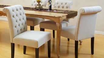 Elmerson Tufted Ivory Linen Dining Chair (Set of 2)