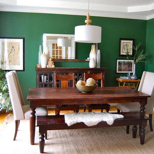 Example Of A Trendy Dining Room Design In Indianapolis With Green Walls