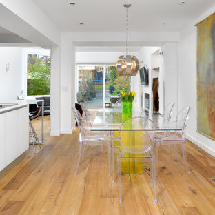 Dining room - modern light wood floor dining room idea in Toronto with white walls