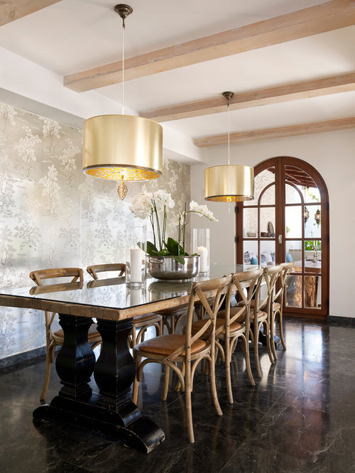Large Tuscan Dining Room Photo In Other