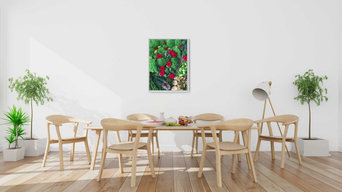 Evergreen Art Collection - moss art with red roses