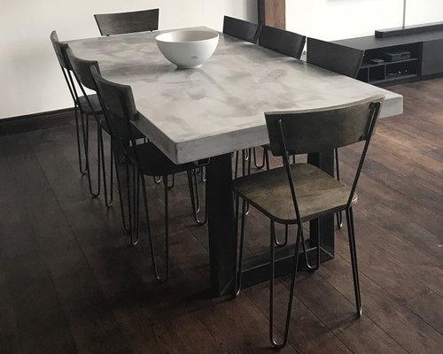 Extendable Light Grey Polished Micro Concrete Dining Table - Extendable concrete dining table