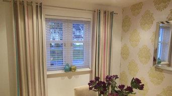 Eyelet stripe curtains