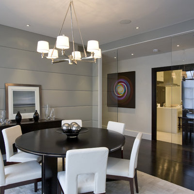 Dining room - mid-sized contemporary dark wood floor and brown floor dining room idea in DC Metro with gray walls