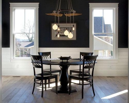 landhausstil esszimmer mit schwarzer wandfarbe ideen design bilder houzz. Black Bedroom Furniture Sets. Home Design Ideas