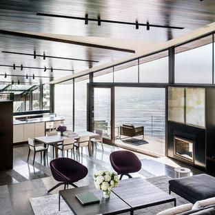 Источник вдохновения для домашнего уюта: большая гостиная-столовая в современном стиле с двусторонним камином, бетонным полом, фасадом камина из металла и серым полом