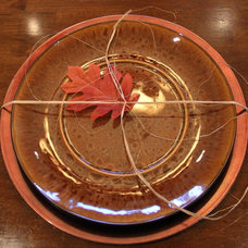 Traditional Dining Room Fall Plates Wrapped with Raffia