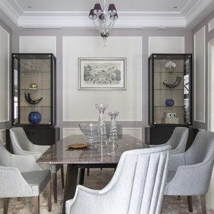 Пример оригинального дизайна интерьера: столовая в стиле современная классика с серыми стенами и белым полом
